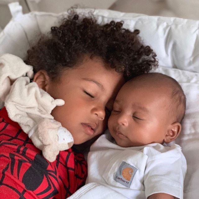 "Kim's two adorable sons. 😍😍😍 Posted ""@kimkardashian Saint said he's gonna pretend to sleep with his brother. He always wants a pic to capture every moment. You have no idea how sweet my boys are!"" #idesireplus #littlestrangedesirefeed"