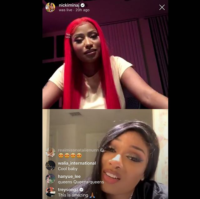#nickiminaj and #megantheestallion on IG live 😯❤️ #megatronchallenge #life #hotgirlsummer #idesireplus