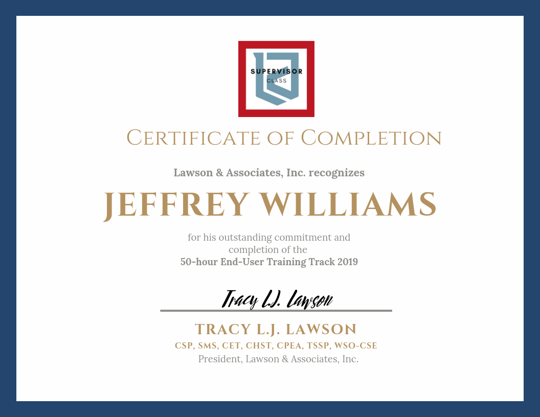 LAWSON TRAINING TRACK Certificate of Completion - Supervisor