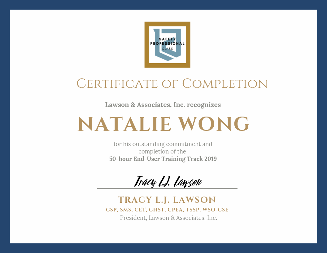 LAWSON TRAINING TRACK Certificate of Completion - Safety Professional .png