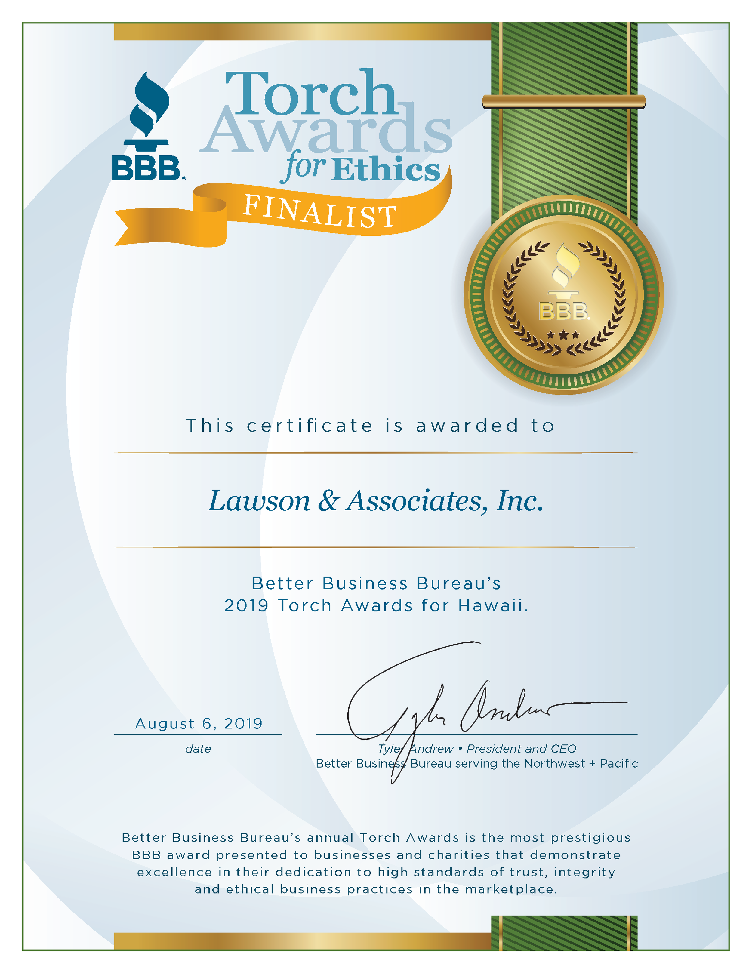 Better Business Bureau's 2019 Torch Award