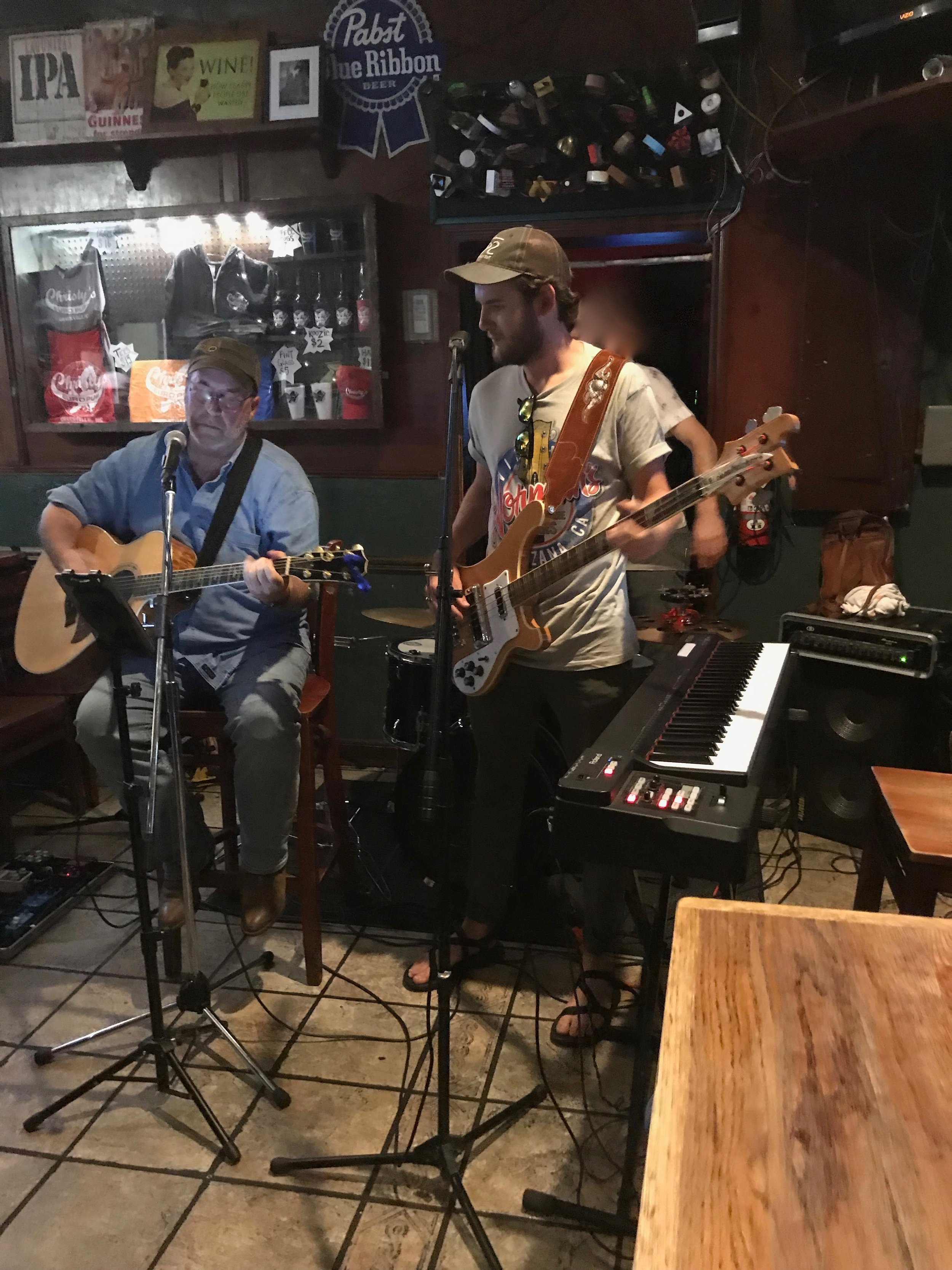 Playing with my friend and Zack Greene at Christy's Pub in Greenville, NC.
