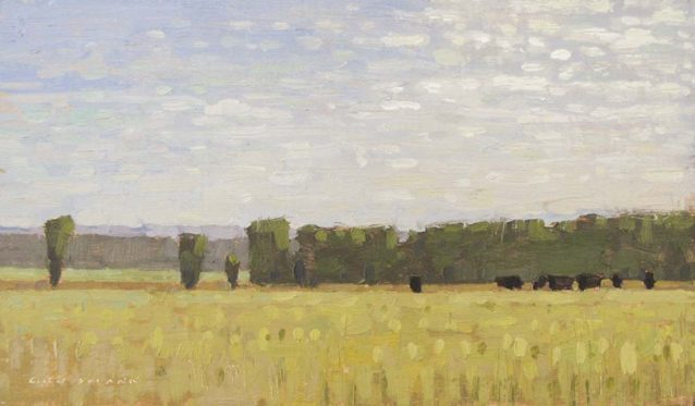 June Morning with Cows, 7×12 inches, oil on linen panel