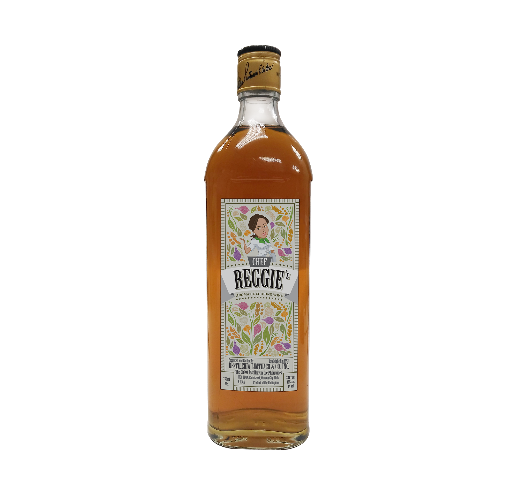 Chef Reggie's Aromatic Seasoning Wine bottled exclusively by Destileria Limtuaco