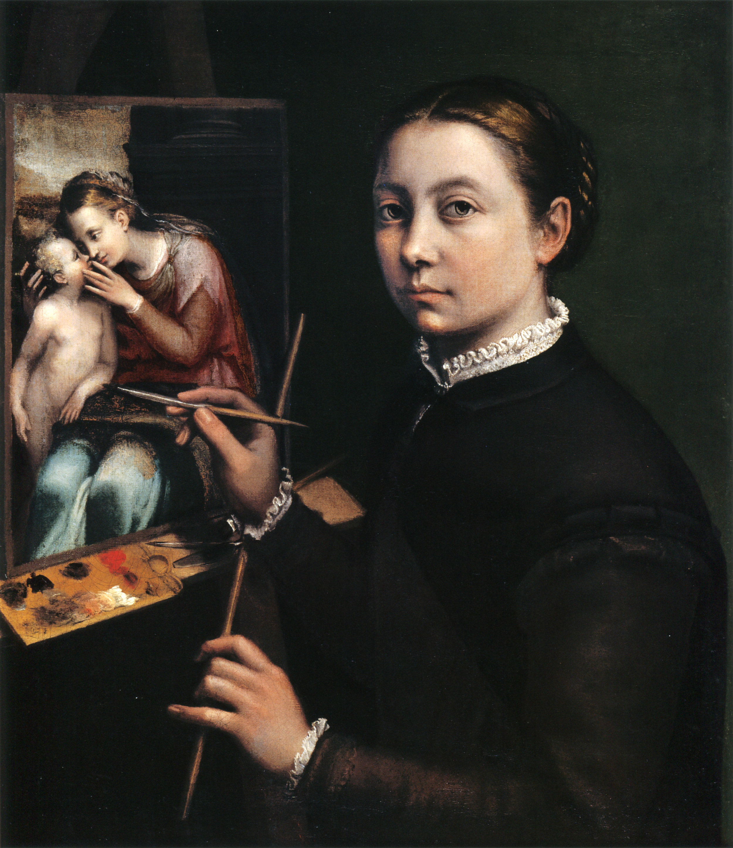 Self-portait at the Easel Painting a Devotional Panel, Sofonisba Anguissola (public domain).