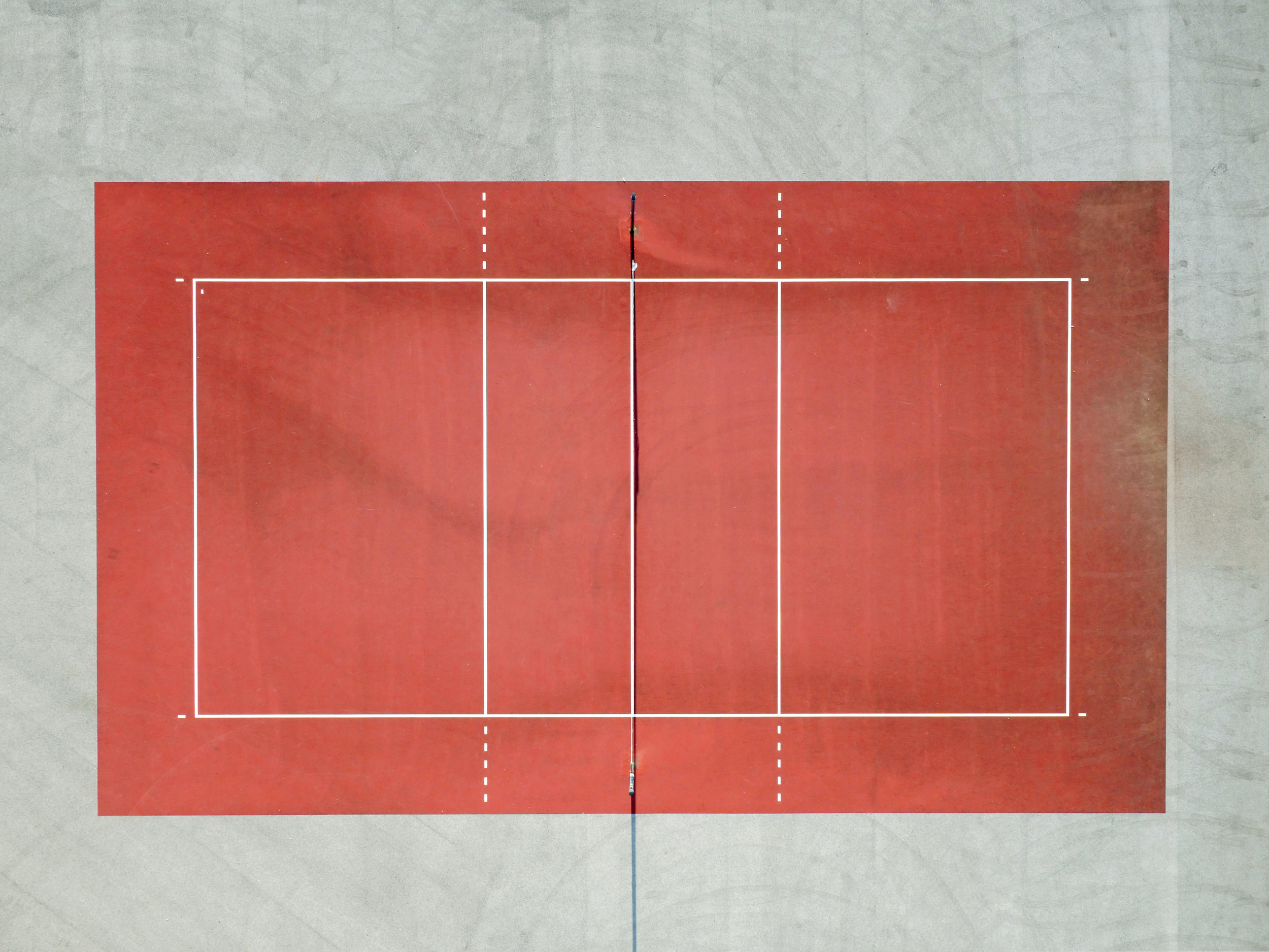 Bird's-eye view of an empty volleyball court