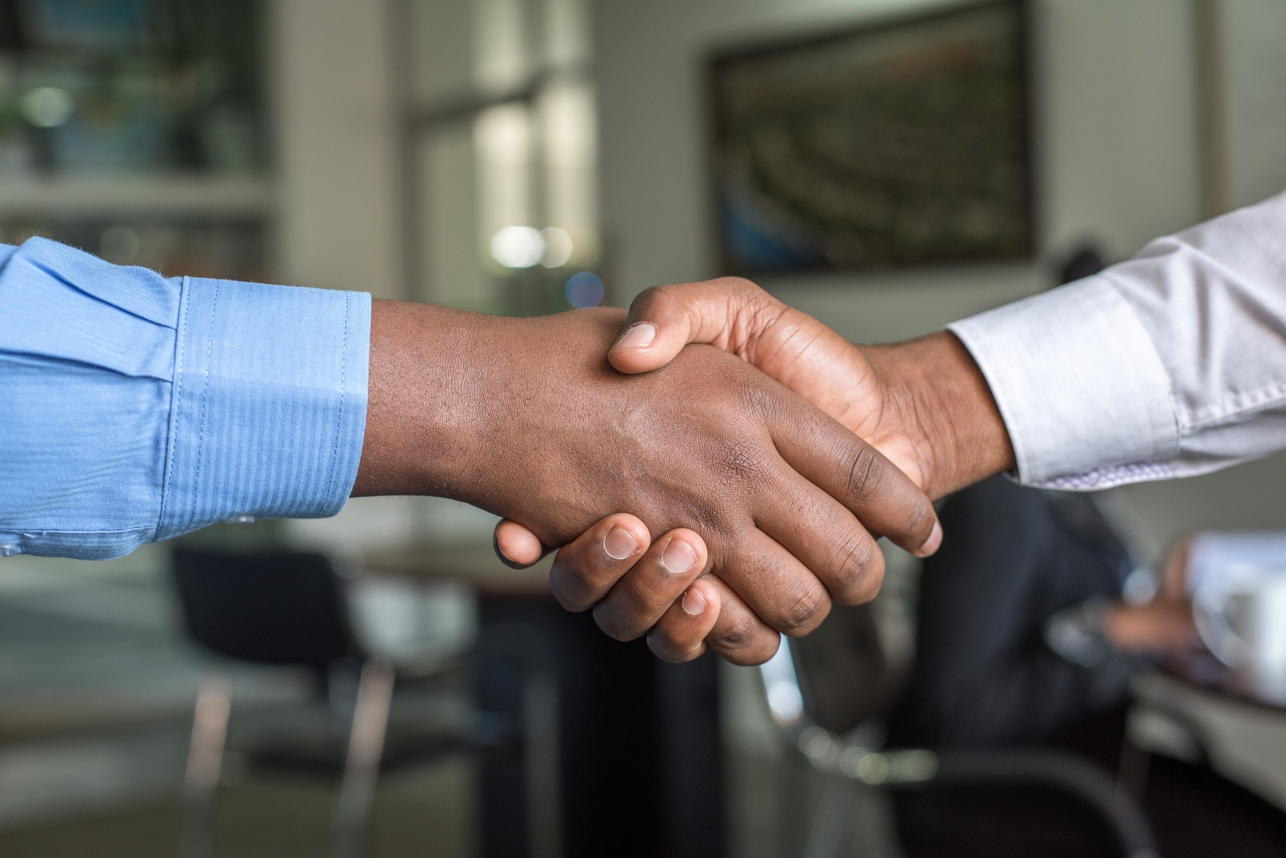 Close-up on two people shaking hands