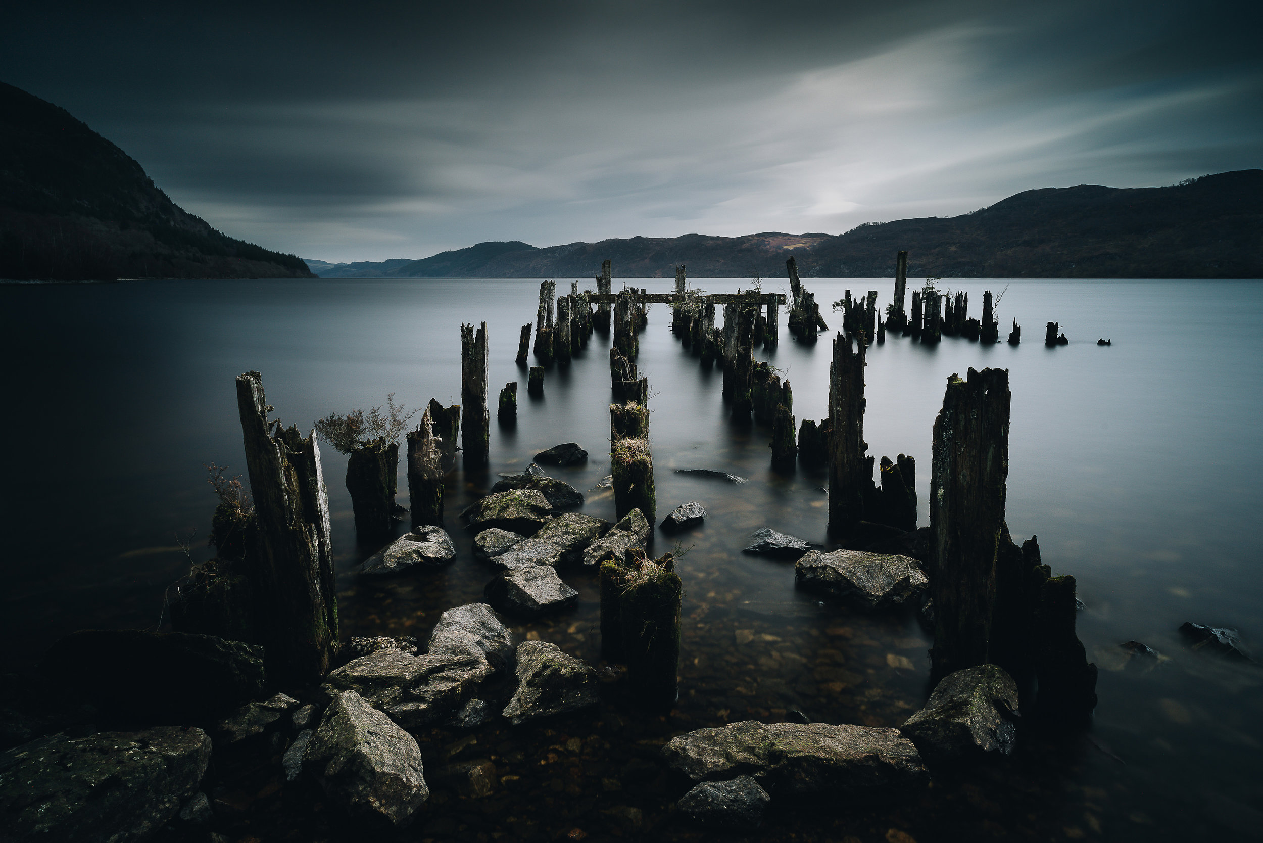 A ruined jetty in Loch Ness
