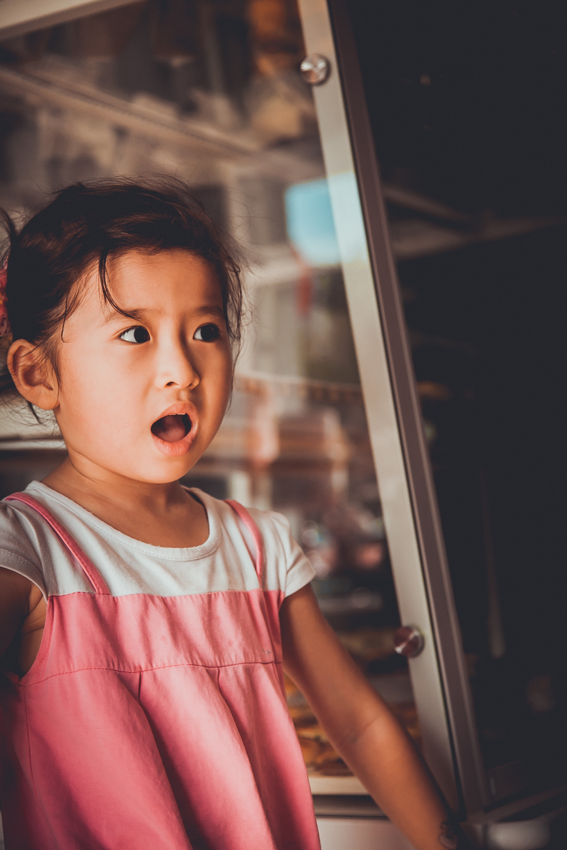 Close-up on a surprised-looking child