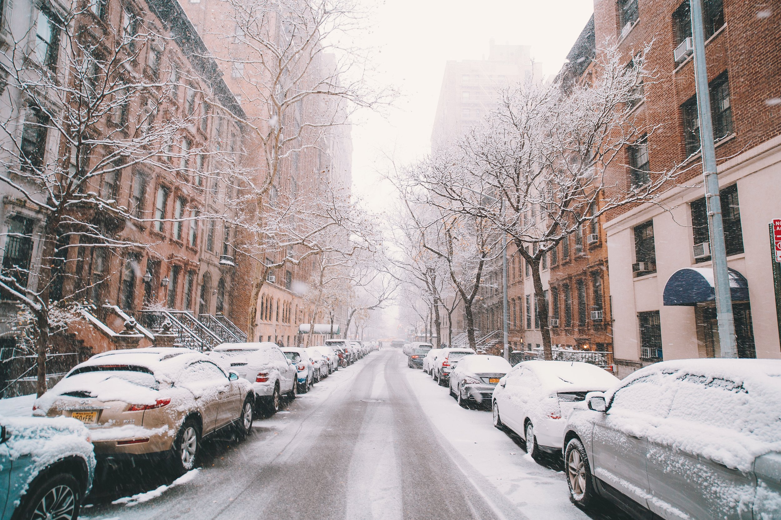 A New York street in the snow