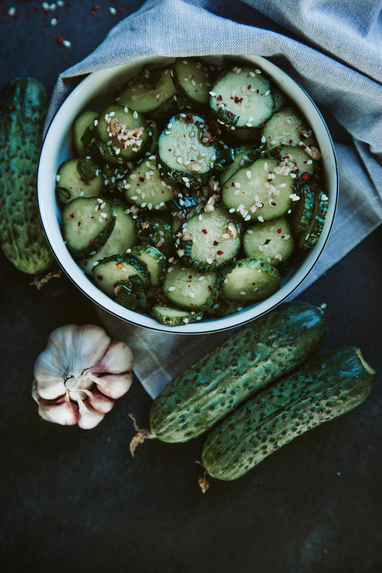 spicy korean cucumbers