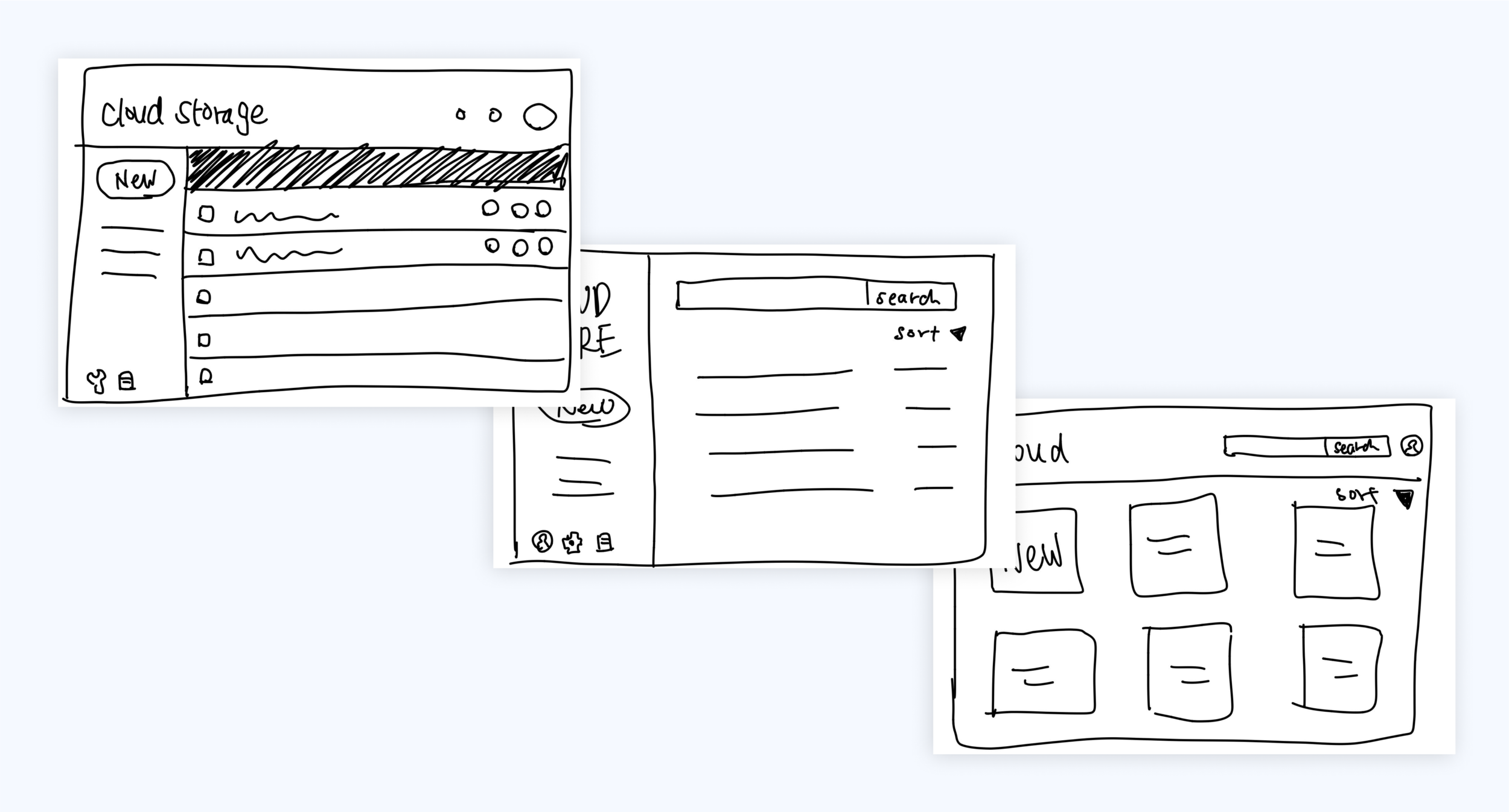 Sketching out different variations of the dashboard...