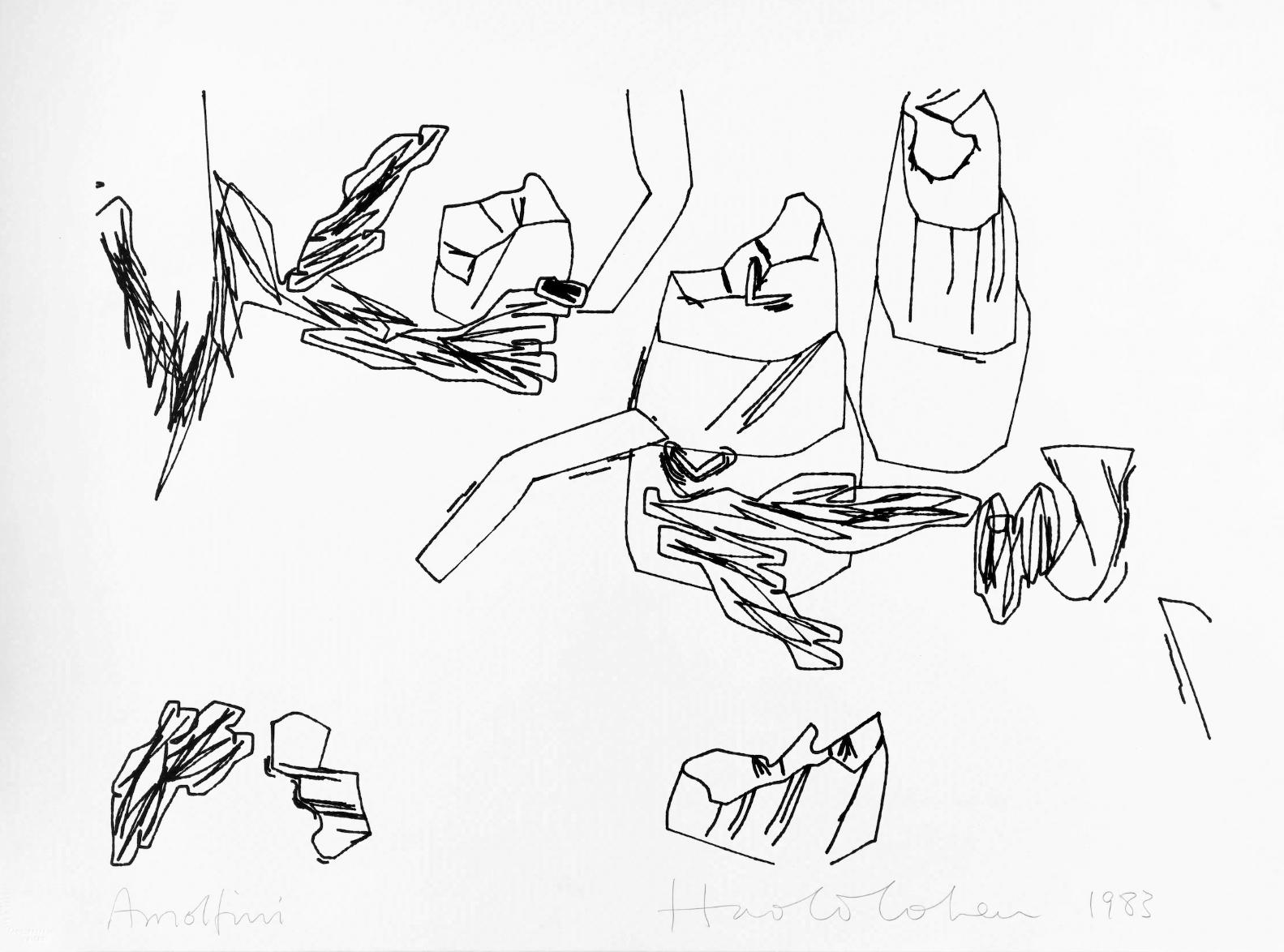 Plotterzeichnung, Tinte auf Papier,  Harold Cohen, 1983