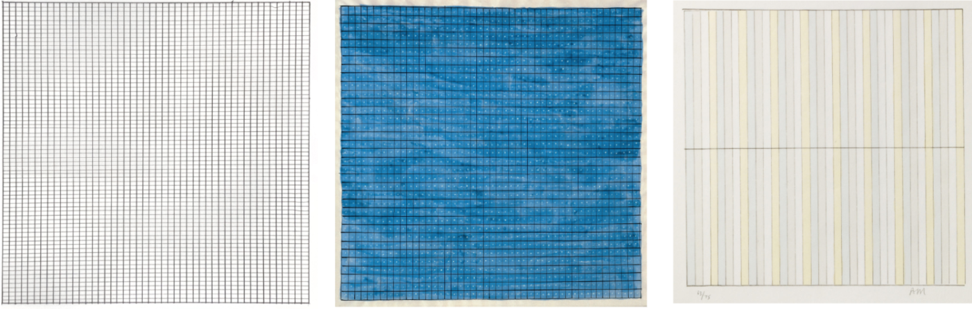 A selection of paintings by minimalist abstract painter Agnes Martin