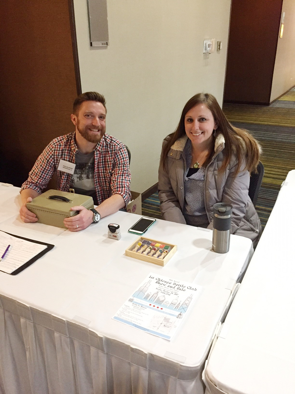 Welcoming table with Mike and Melissa Majewski
