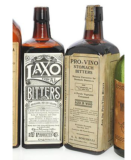 Laxo & Pro-Vino paper labeled Bitters