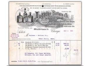 Augauer Bitters Co. Billhead