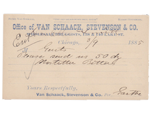 Van Schaack, Stevenson & Co. Wholesale Druggist billhead dated 1885
