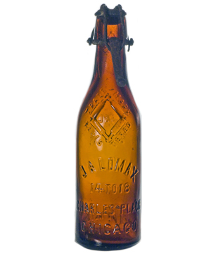 John A. Lomax Diamond Lager Beer with Whitman  & Lomax closure