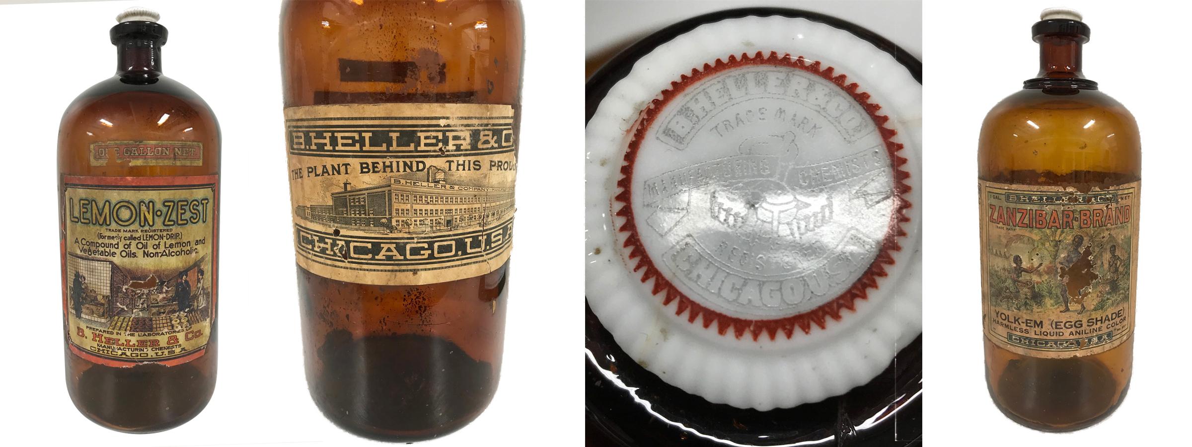 B. Heller and Company: Lemon Zest, back label with image of plant, embossed stopper, and Zanzibar Brand Yolk-Em