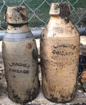 Freshly dug L. Wagner, pint, pottery beers