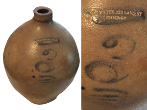 H. H. YATES, 3 gallon ovoid jug