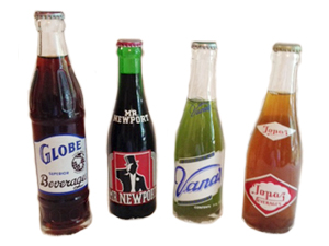 Grouping of ACL sodas: Globe Beverages, Mr. Newport, Vana's and Topaz Beverages