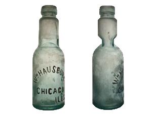 Wm. Hausburg soda/mineral water bottle with William H. Kelley gravitating stopper