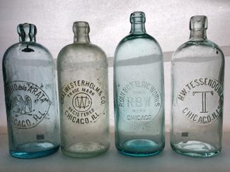Quart Hutchinson examples, left to right: Ciovino & Arata, Chas. Westerholm,  Ryan Bottling Works, H. W. Tessendorff