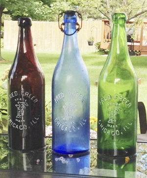 Fred Freer (mineral water) quarts in three colors