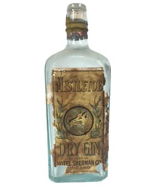 Mistletoe Dry Gin, Bottled by Hotel Sherman Co.