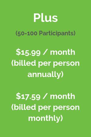 Plus (50-100 participants) $15.99 / month billed per person annually, $17.59 / month billed per person monthly