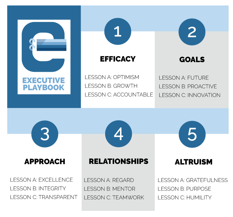 FPG Executive Playbook: Efficacy, Goals, Approach, Relationships, Altruism.