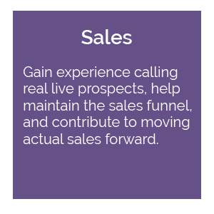 Sales: gain experience calling real live prospects, help maintain the sales funnel, and contribute to moving actual sales forward.