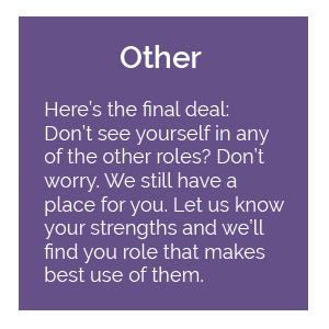 Other: Here's the final deal. Don't see yourself in any of the other roles? Don't worry. We still have a place for you. Let us know your strengths and we'll find you a role that makes the best use of them.