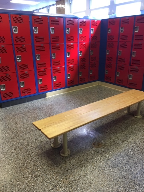 Refurbished locker rooms at Governor Livingston High School.