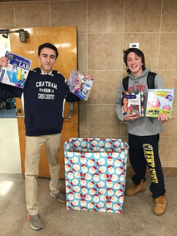 Ryan's cousin Matt (right) spearheaded a Ryan's Toy Roundup at Chatham high school to benefit Deirdre's House.