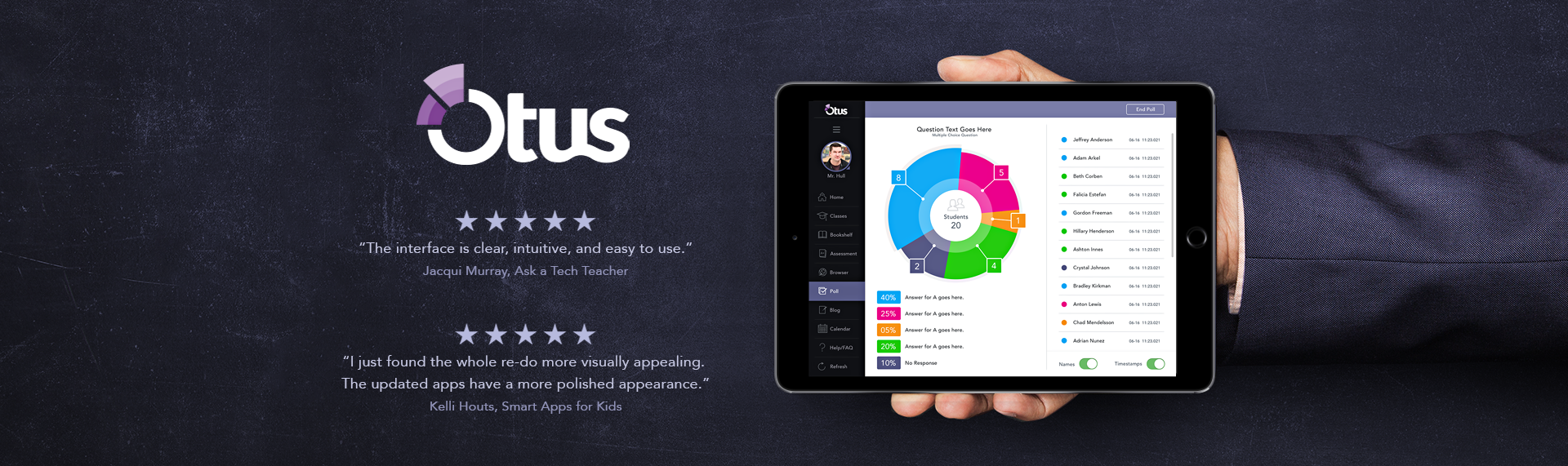 Otus Plus  iPad Application UX & UI Design  The Skins Factory was invited to rethink the UX & redesign the visual UI for the flexible LMS & Learning Analytics Platform - Otus Plus. Utilizing a collapsible & expandable, double sidebar navigation, the intuitive design is receiving 5-Star reviews from the some of the biggest names in the educational app review market. From Login Screens, built-in browser, vibrant analytic graphs, seating charts, blog design and much more. The Skins Factory delivered a clean, intuitive design that is sure to delight both students, parents, & teachers.