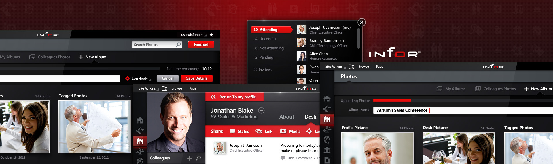 Infor10 Workspace  Browser Application UX & UI Design  The Skins Factory developed the comprehensive UI + UX for Infor's enterprised-based social application which includes: Profiles, Messaging, Photo Management & Library, Events, Alerts, news feeds & more. Developed to work on both desktop clients and touchscreen devices. The look and feel has a hybrid aesthetic - with its flat, visual design fused with The Skins Factory's trademark style of adding tactile, design elements throughout the UI. 1 of 6 projects Infor tasked The Skins Factory with.