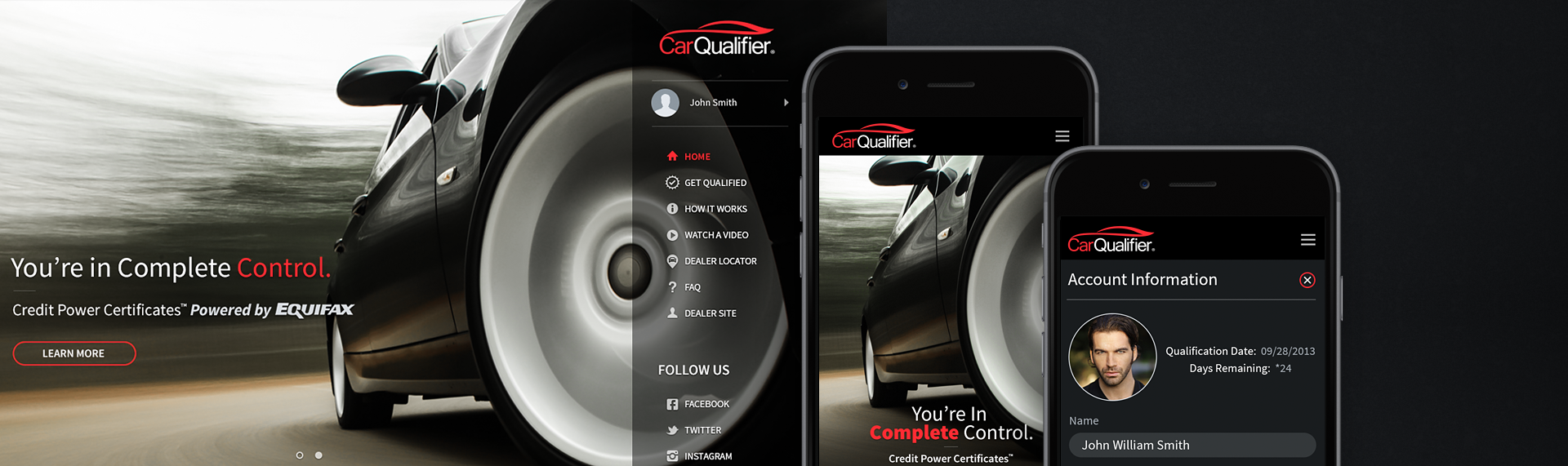 CarQualifier  Browser + Mobile Application UX & UI Design  CarQualifier brought in The Skins Factory to design the UX & UI for their world-class consumer mobile & browser application. CarQualifier prequalifies consumers for new vehicle loans & leases at the beginning of the sales process. Our team started the project designing the browser application's interaction and visual design, then ported the design over to a mobile phone platform. The results are a perfect visual symmetry. Over 100 screens were designed.