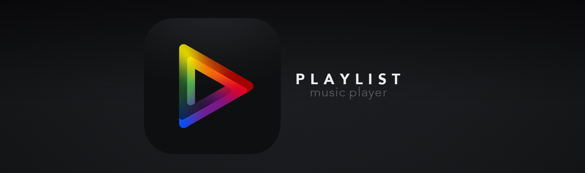 """Playlist Music Player  Brand Identity Design, Product Name Creation  The brand identity for Skins Factory's iOS music player app for iPhone. Because colors & music both evoke a wide range of human emotions, we took a stylized """"play"""" icon and infused it with a full spectrum of colors. This is symbolic of the symmetry that music and colors share, when it comes to their affect on our feelings when we're engaged with them. This chromatic design language was carried over into the UI of the player, as colors permeate the design and offer emotionality to the user."""