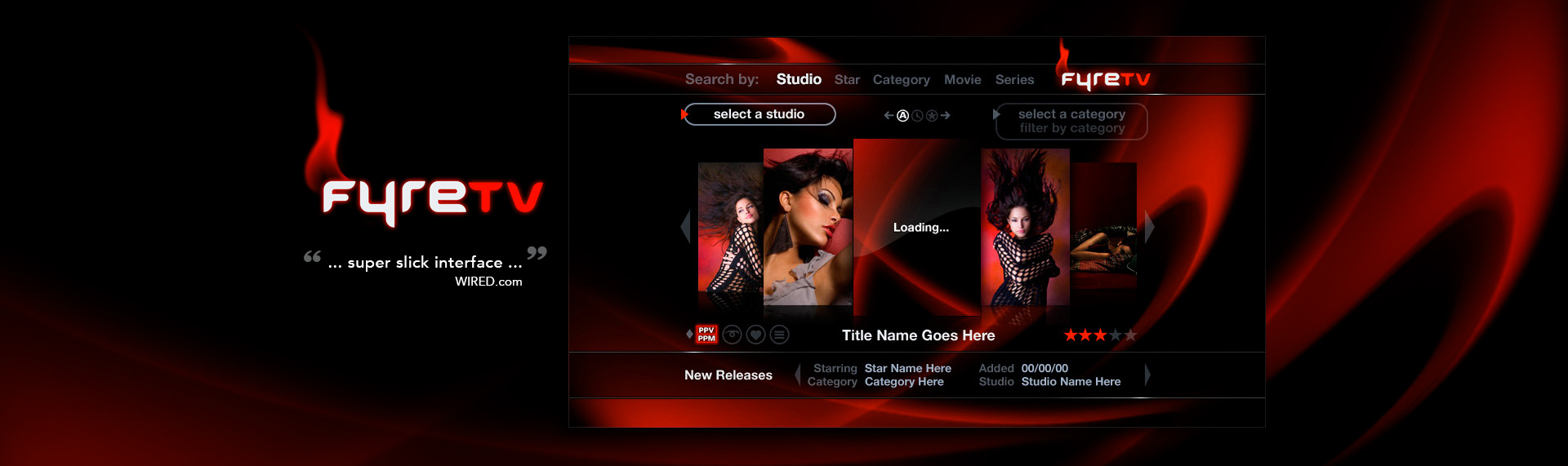 """FyreTV  VOD Application UX & UI Design, Brand Identity Design, Product Name Creation  The Skins Factory developed the entire application user interface for FyreTV. From designing application iconography, mapping out the remote control to the full screen GUI. TSF also developed the FyreTV TV Guide, the account & login screens, settings panels and even the icons and placement of functionality on the hardware remote. The results as Wired.com states is a super slick interface. The Skins Factory not only created the application's UI, but also came up with the brand name """"FyreTV"""" and brand identity."""