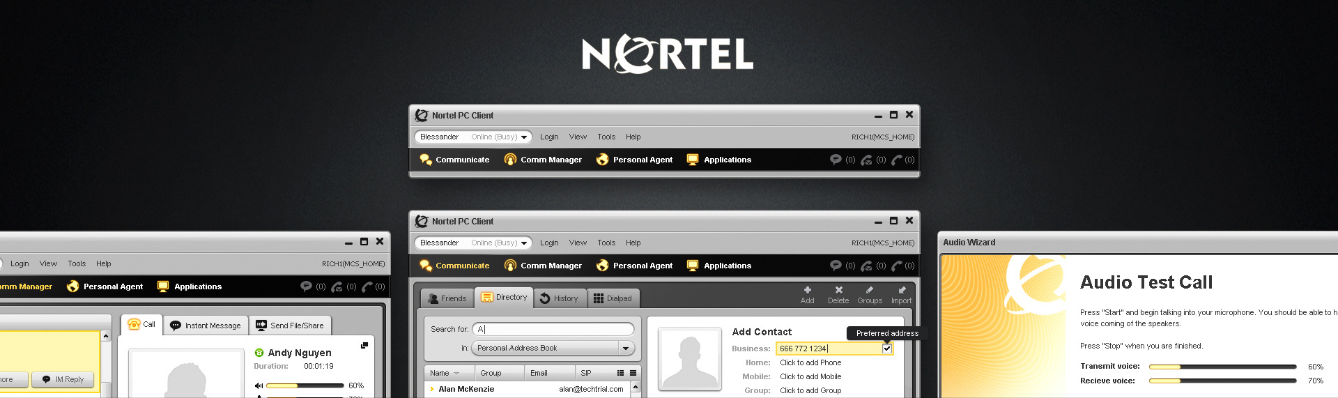 Nortel PC Communications Client  Desktop Application UX & UI Design  Nortel contracted The Skins Factory to redesign their feature-rich communications application - the Nortel PC Client. The PC Client is an application that provides advanced IP telephony features which were not featured on traditional phones. By completion, The Skins Factory created over 45+ separate screens and UI assets with a strong focus on ease-of-use and an attractive visual design aesthetic.