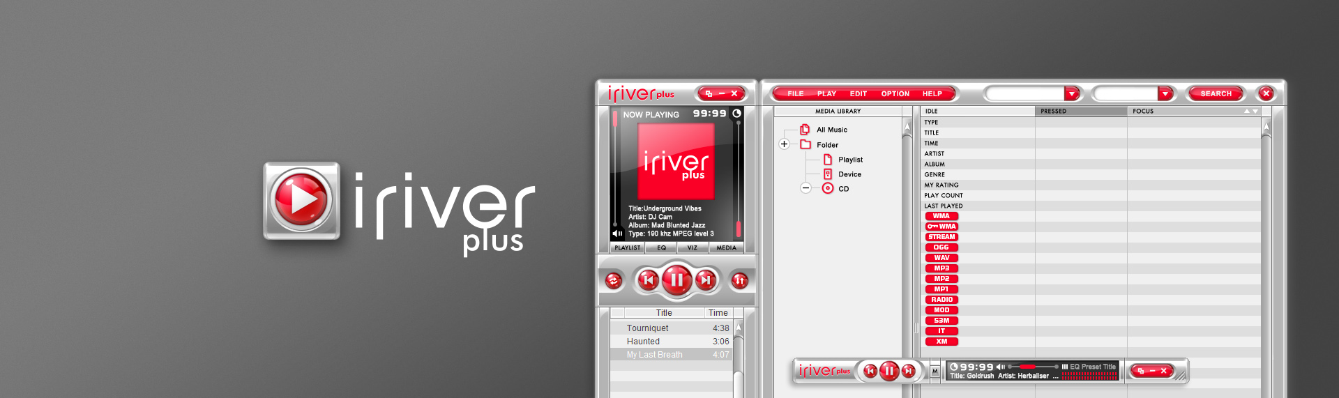 iRiver Plus  Desktop Application UX & UI Design  When The Skins Factory was approached to design & create iRiver's new digital jukebox user interface, iRiver Plus, our team set out to develop a style that would set this application apart, in a market that was saturated with digital audio media players & jukeboxes. A fusion of functionality & design, iRiver Plus is the culmination of years of user interface design experience and attention to detail that vaulted this desktop audio appliance ahead of its competitors.