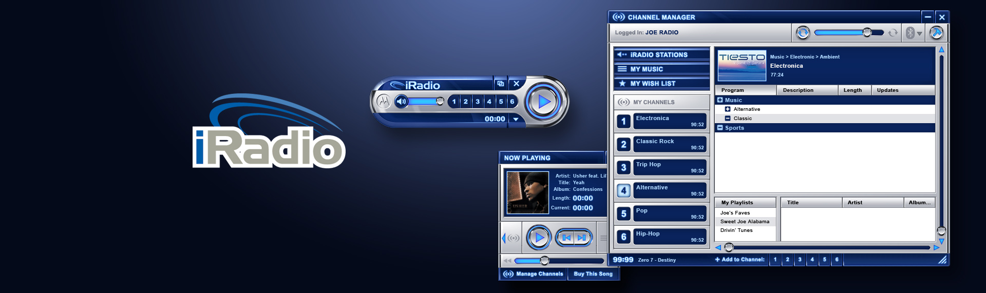 Motorola iRadio  Desktop Application UX & UI Design  Motorola, Inc. and The Skins Factory collaborated on the creation of the beta user interface for their iRadio music application. The Skins Factory's design squad created a tactile environment using deep cobalt blues and shiny alloys that deliver a rich, real-world feeling to the end-user. We started with detailed wireframes before diving into the actual visual design mocks. The player was then modeled in 3D to support the animation sequences we had planned for the player.