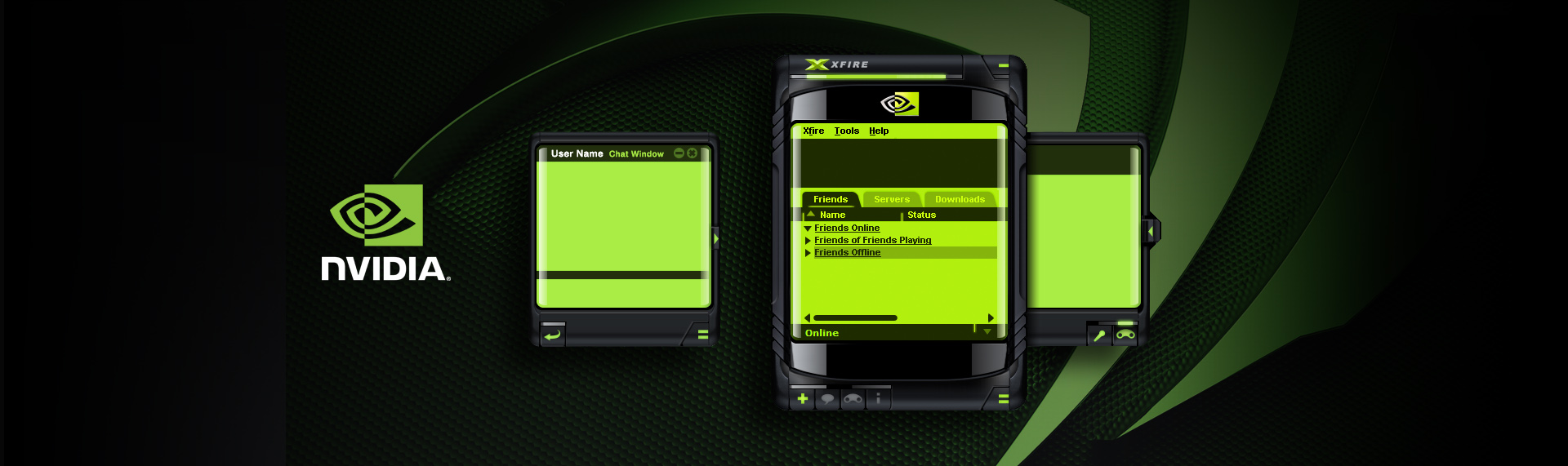 NVIDIA Reactor for Xfire  Desktop Application UX & UI Design  NVIDIA & The Skins Factory presented the NVIDIA REACTOR skin for the Xfire skinnable gaming chat system. Designed like a future-world communication device, NVIDIA REACTOR with its obsidian colored glass and jet black rubber trim brings to life a Blade Runner-esque style that gamers everywhere enjoyed. The skin was so successful, NVIDIA then contracted The Skins Factory to create a custom Windows Media Player skin that shared the same design language - one of our most popular WMP skins ever.