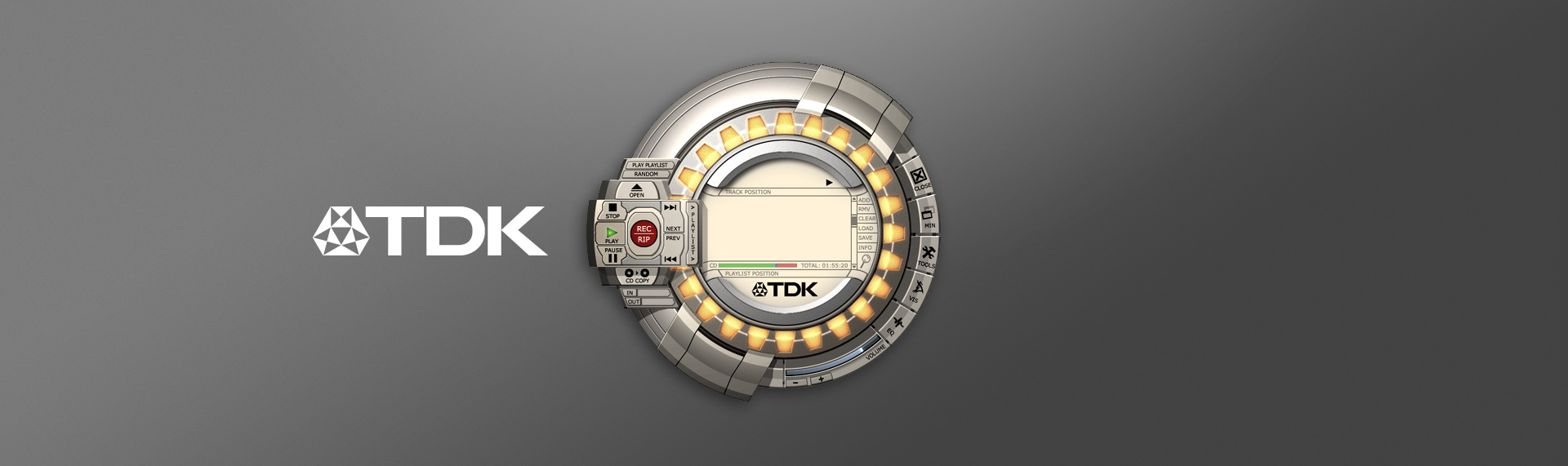 """TDK Digital MixMaster  Desktop Application UX & UI Design, Logo Design  TDK Electronics Corporation came to The Skins Factory to build the default interface for their proprietary audio player. The TDK Digital MixMaster was part of the CD Blender Software Suite of applications that shipped with their veloCD reWriters. While this is a little bulky in terms of today's UI design language, in 2001, when we created this, it was cutting edge. This is proof positive that we were ahead of our time, even when our studio was only a year old. ZDNet called our UI design: """"a spiffy, circular skin""""."""