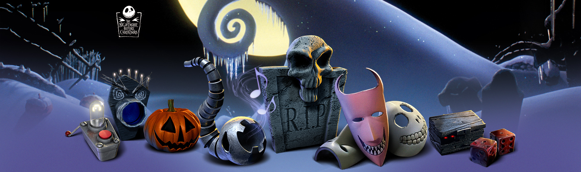 Disney's The Nightmare Before Christmas Sony PlayStation XMB Icons  Client: The Walt Disney Company  This Tim Burton-approved PlayStation theme was created by The Skins Factory for Disney based on the cult favorite film - Tim Burton's The Nightmare Before Christmas. The Skins Factory created a spookiy set of over 50 ghostly, holographic XrossMediaBar (XMB) navigation icons, super creepy 3D main navigation icons, custom cursors and more. For Sony PlayStation 3 & PlayStation Portable. All images Disney. All Rights Reserved