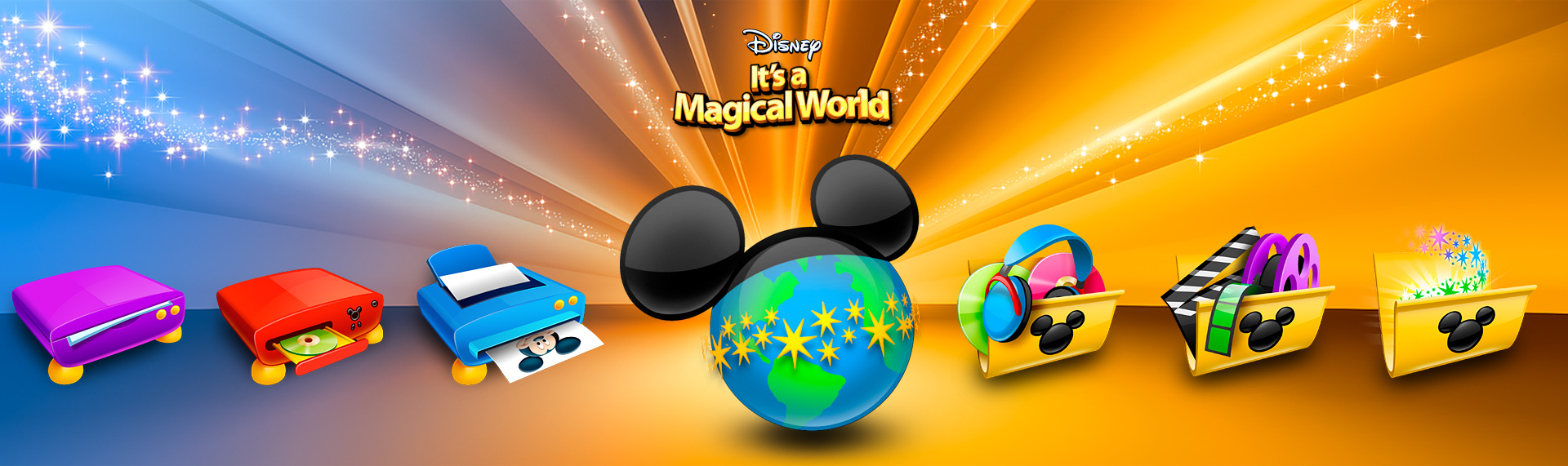 Disney's It's a Magical World Windows Desktop Icon Set  Client: The Walt Disney Company  Initially contracted by The Walt Disney Company and then under license, the Official Disney Desktop theme for Windows 7, Vista & XP, features 5 color themes, an assortment of magical desktop icons, custom wallpapers, a fun Mickey Mouse iTunes audio remote and a Windows Media Player skin. The theme was powered by The Skins Factory's advanced Windows desktop theming solution Hyperdesk, Unfortunately, this magical theme is no longer available.