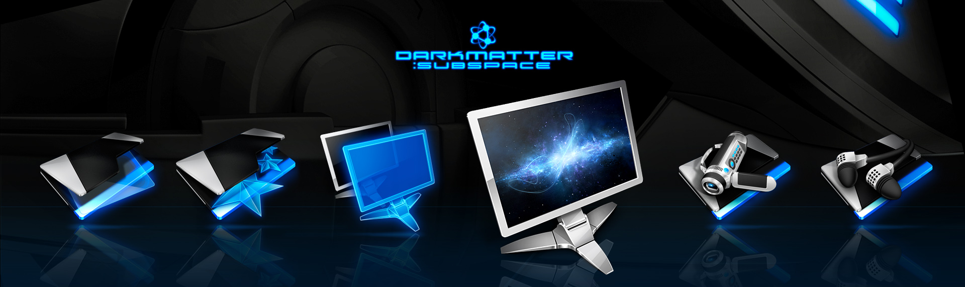 DarkMatter: Quadrilogy Windows Desktop Icon Set  Client: The Skins Factory  Four unbelievably slick icon sets that completely transformed your Windows desktop into a super-futuristic, hi-tech environment. The Skins Factory's icon design team doesnt simply push the envelope, it shreds it. It was powered by The Skins Factory's advanced Hyperdesk Windows desktop theming solution.
